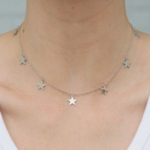 5 for $25 Handmade Silver Stars Choker Necklace